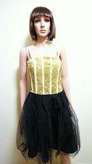 キャバ系☆きら�A金スパンとチュールのドレス D43☆3点で即落☆