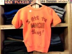 a11デッド70sビンテージロゴキャラスウェットTシャツMオレンジ