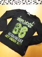 wamwam  黒  かすれプリントTシャツ(150)