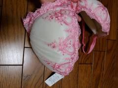 新品★I85「ロリアンミル」白×ピンクレースブラジャー=¥5000