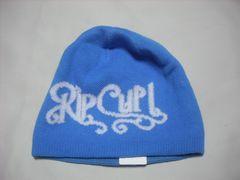 wb449 女 RIP CURL リップカール リバーシブル ニット帽 青
