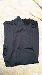 大きいサイズ 4−5L裾レースレギンス black