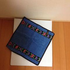 未使用・フェイラー社シニョール織タオルハンカチ>ブルー系花