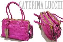 新品CATERINA LUCCHIメタリックヴィンテージ調革バッグフクシア