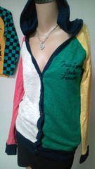 used 美品 胸元&背中英字刺繍*カラフルpopなアメカジ系ニットカーデ