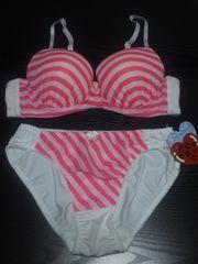 新品 ボーダーブラショーツセット(B75・M)白×蛍光ピンク