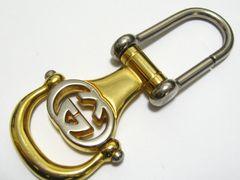 GUCCIグッチ.フック式.シルバー&ゴールドカラーGGロゴキーホルダー.ベルトループ極上の品