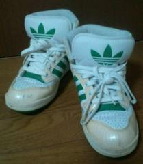 used 美品「adidas」白×緑 プレミア人気 ハイカットシューズ 24