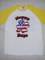 POM(ピースオンマーズ)HappyDaysラグラン七分袖TシャツL