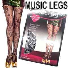 a28)MusicLegsフローラルブーケストッキング黒ブラックパーティーセレブB系タイツフラワー花