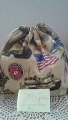 ハンドメイド新品お弁当袋巾着米軍柄