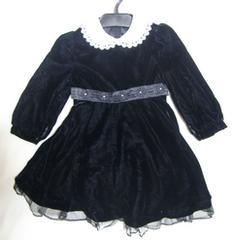 新品 ベロア 黒 ワンピース 冠婚葬祭 ブラック 100