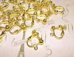 カン付きネジバネ式イヤリング24個ゴールド