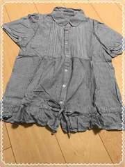 黒×白ストライプ/裾フリル/半袖シャツ/Lサイズ