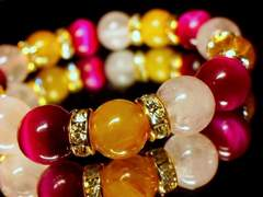 ルチルクォーツ§ピンクタイガーアイ§ローズクォーツ10ミリ金ロンデル数珠