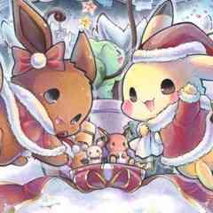 SOLD OUT ポケモン☆クリスマス*ピカチュウ&イーブイ☆自作イラスト