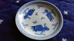 平戸藩御用窯→三川内焼…初期金魚染め付け絵皿…窯印