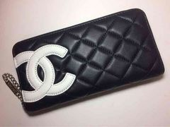 CHANEL カンボンライン 長財布 ラウンドファスナー 黒×白