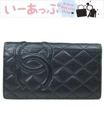 シャネル 二つ折り長財布 カンボンライン 黒×黒 f116