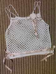 手編み白モヘアのキャミソール コサージュ付