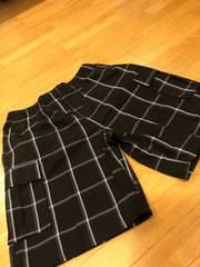 LA直輸入  SHAKA  チェックハーフカーゴパンツ  size3XL  黒  6