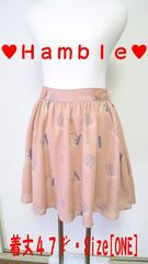 【Hamble】[プードル柄]スカート[ピンクカラー]・Size[ONE]