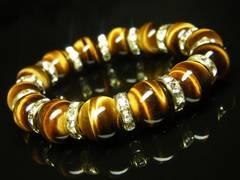 金運上昇パワーストーン タイガーアイブレスレット 12ミリ数珠