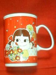 ☆ペコちゃん☆マグカップ☆赤☆花☆ペコ☆ポコ柄☆ぺこ☆不二家☆
