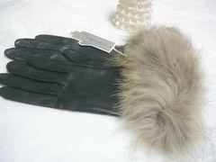 イタリアンレザーラクーンファー羊皮革手袋黒20サイズS〜M