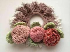 ハンドメイド シュシュ 巻き巻き薔薇 axes好き リズリサ好き 花