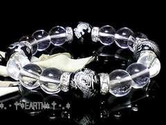 天然石★12ミリ高級銀彫四神獣黒瑪瑙&天然水晶