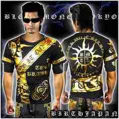 送料込ヤクザオラオラ系ブランド半袖Tシャツ/悪羅悪羅系服/太陽13008黒1-XL