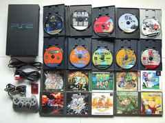 PS2 本体 ブラック ソフ20本 メモカセット 動作確認済Used01