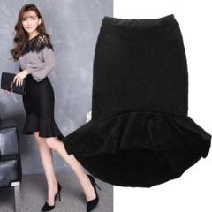 新品【7123】XXXL(大きいサイズ)黒前が短く後ろが長いスカート