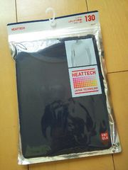 新品ユニクロ ヒートテック UネックTシャツ(半袖)ネイビー130