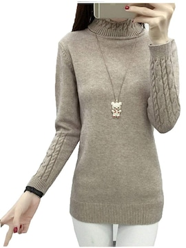 着痩せ ニット セーター レディース タートルネック K