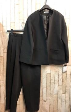 新品☆S♪おしゃれさんのゆったり黒パンツスーツ礼服喪服☆j707