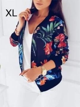 新品☆花柄JIP 綺麗ジャケット ネイビー XL
