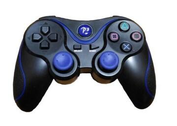 PS3対応 ワイヤレスコントローラー ブラック&ブルーz