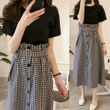 セットアップ  ロングスカート + 半袖 Tシャツ (XL寸・格子)