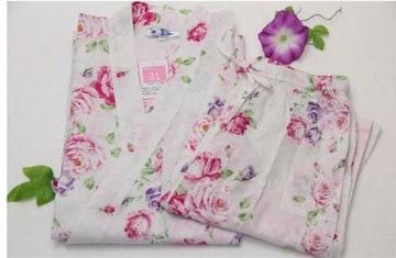 新品★4L★大きいサイズ★ピンク薔薇デザイン甚平