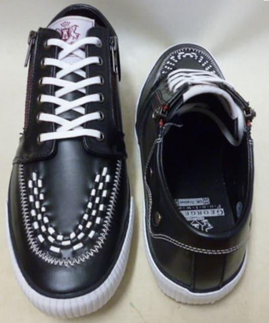 GeorgeCoxジョージコックス新品ローカット スニーカー4201黒uk9 < 男性ファッションの