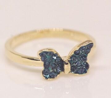 指輪 18K RGP ダイヤ CZ カラー 蝶々 リング gu1408e