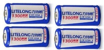 CR123a 16340 1300mAh 3.0V リチウムバッテリー 充電池 4本