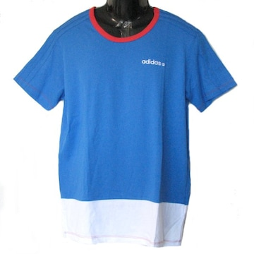 新品◆送料無料◆アディダス 青3st×裾白Tシャツ (S)