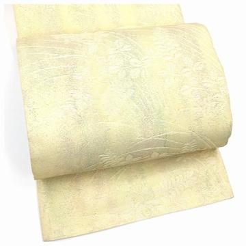 夏物 極上 正絹 袋帯 クリーム 南天模様 夏帯 中古品