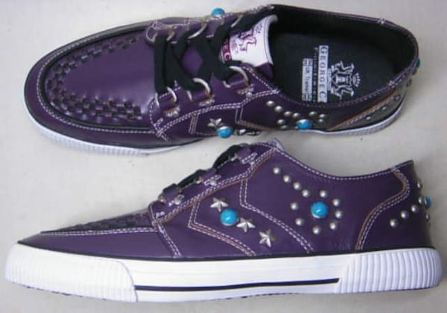 ジョージコックスGeorgeCox新品 スタッズ スニーカー14203紫uk9  < 男性ファッションの