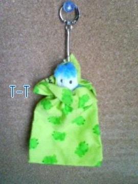 ●ハンドメイド/キーホルダー/ミニ巾着/かえる柄