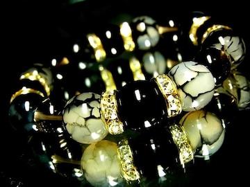 オニキス&ドラゴンアゲート黒龍紋瑪瑙12ミリ*スモーキークォーツ煙水晶10ミリ*金ロンデル