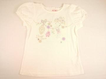 半額以下処分メゾピアノバレエチュチュドレスモチーフ&トゥシューズ刺繍半袖Tシャツ